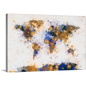 'World Map Paint Splashes' by Michael Tompsett Graphic Art on Wrapped Canvas in Yellow and Blue by Great Big Canvas