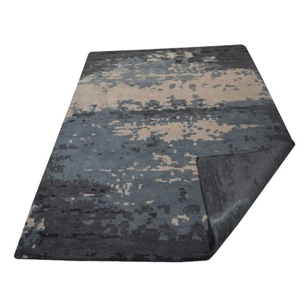Mazie Hand-Knotted Wool Blue/Beige Area Rug by World Menagerie
