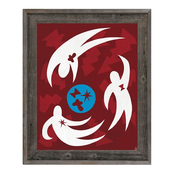 Game of Catch Red Framed Graphic Art on Canvas by Click Wall Art