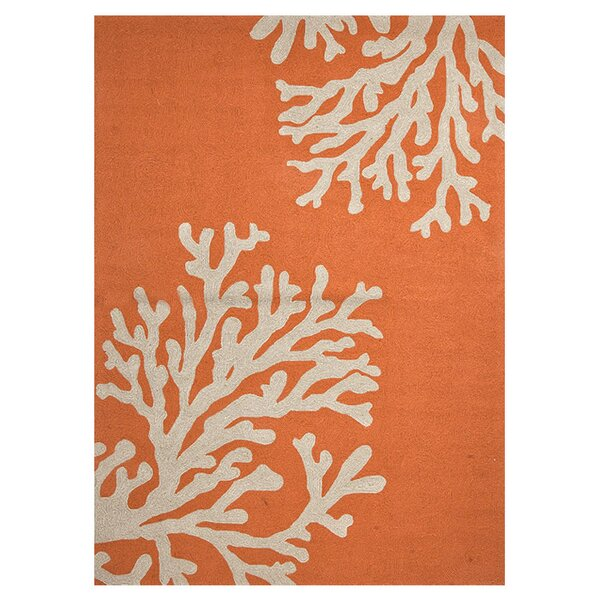 Fortson Hooked Orange Indoor/Outdoor Area Rug by Highland Dunes