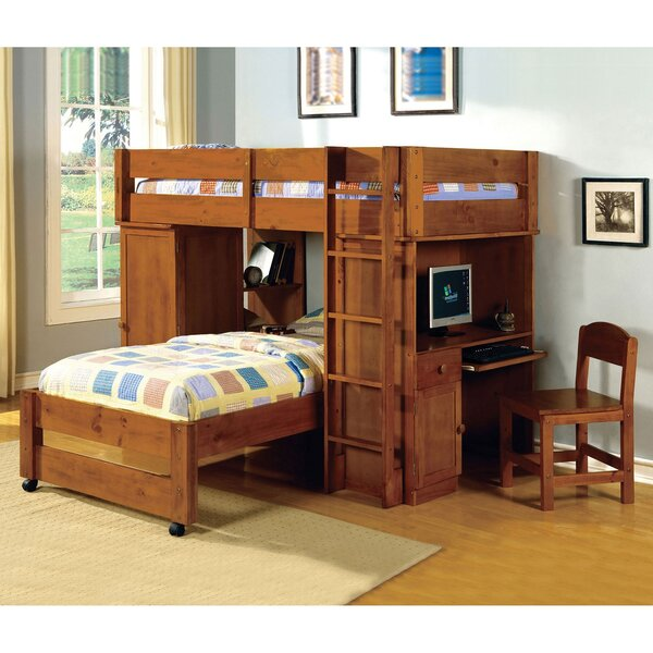 Cray Twin L-Shape Bunk Bed with Bookcase and Drawers by Harriet Bee