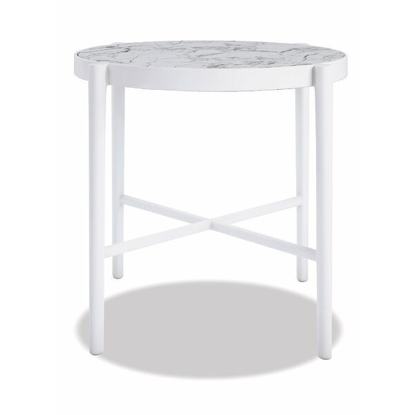Post Leg 20 inch  Round End Table Frost Finish With Honed Carrara Top by Sunset West