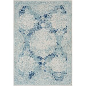 Downs Distressed Vintage Medallion White/Blue Area Rug