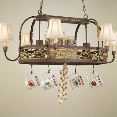 Napa Chandelier Pot Rack with Shade by Hi-Lite