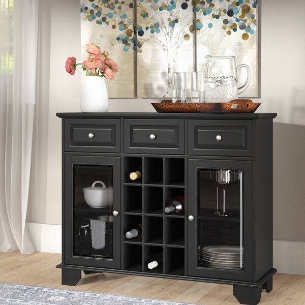 Ross Wood Server with 12 Bottle Floor Wine Cabinet by Three Posts