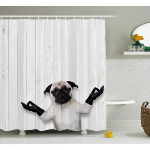 Check Prices Fritz Wooden Funny Bulldog Shower Curtain ByEbern Designs