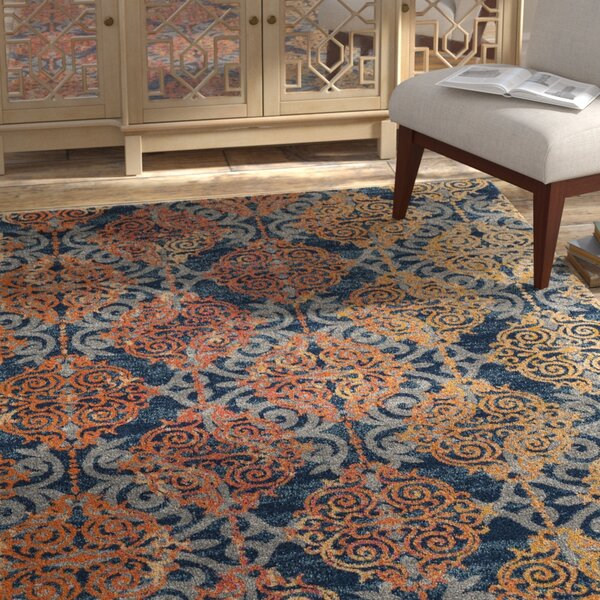 Ameesha Blue/Orange Area Rug by Bungalow Rose