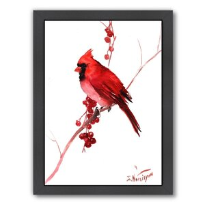 Red Cardinal Bird by Suren Nersisyan Framed Painting Print by Americanflat