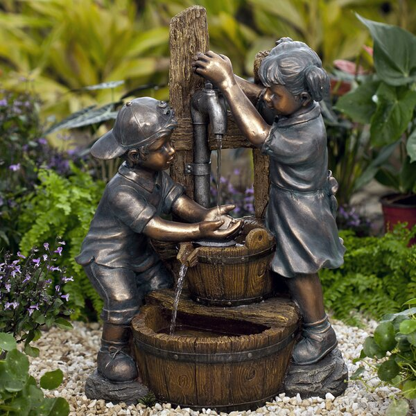 Resin/Fiberglass  Kids Playing Water Fountain by Jeco Inc.