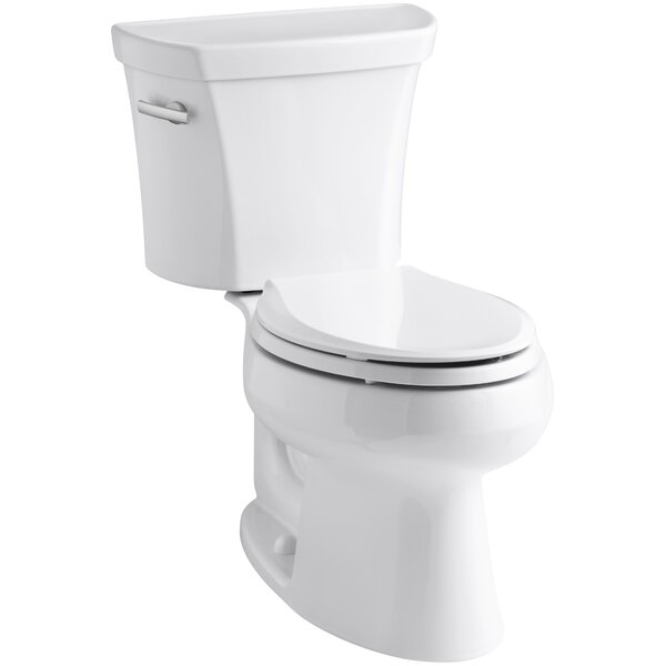 Wellworth Two-Piece Elongated 1.28 GPF Toilet with Class Five Flush Technology and Left-Hand Trip Lever by Kohler