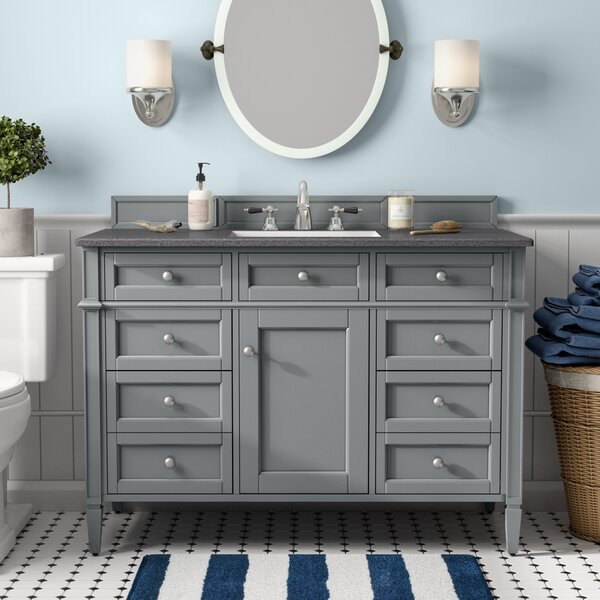 Deleon 48 Single Urban Gray Granite Top Bathroom Vanity Set by Darby Home Co