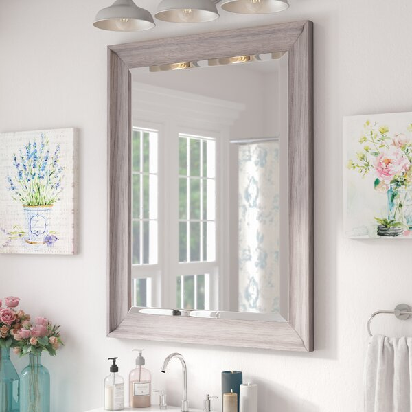 Bartouille Transitional Driftwood Beveled Bathroom/Vanity Wall Mirror by Lark Manor