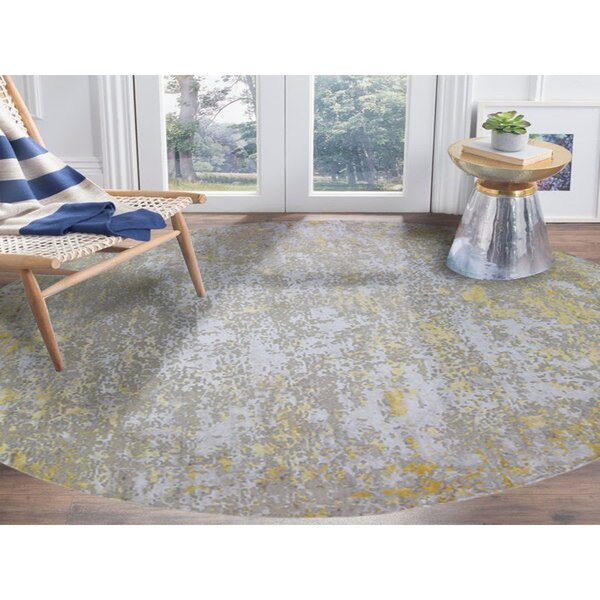 One-of-a-Kind Hand-Knotted Yellow/Beige 11'10 x 11'10 Area Rug