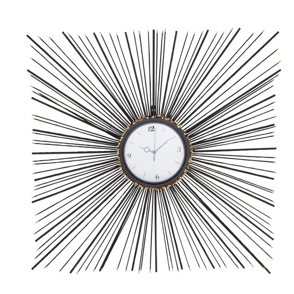 Oversized Padang Contemporary Iron Square Sunburst Wall Clock by George Oliver