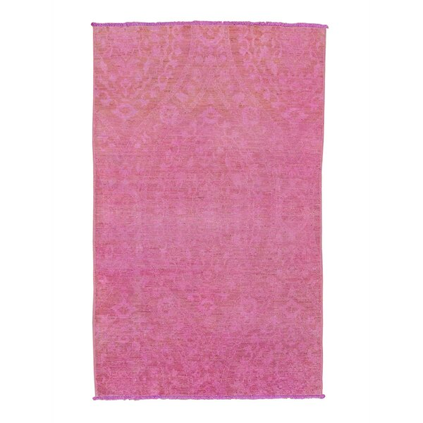 One-of-a-Kind Elderton Cast Overdyed Peshawar Oriental Hand-Knotted Pink Area Rug by World Menagerie