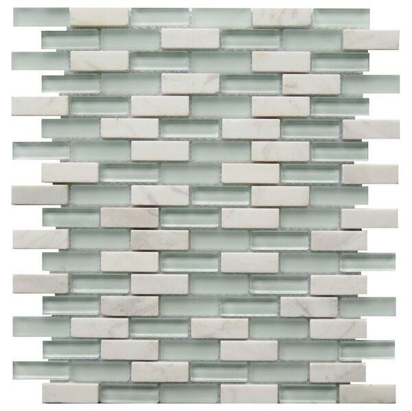 Roma 0.6 x 2 Natural Stone/Glass Mosaic Tile in White by NovoTileStudio