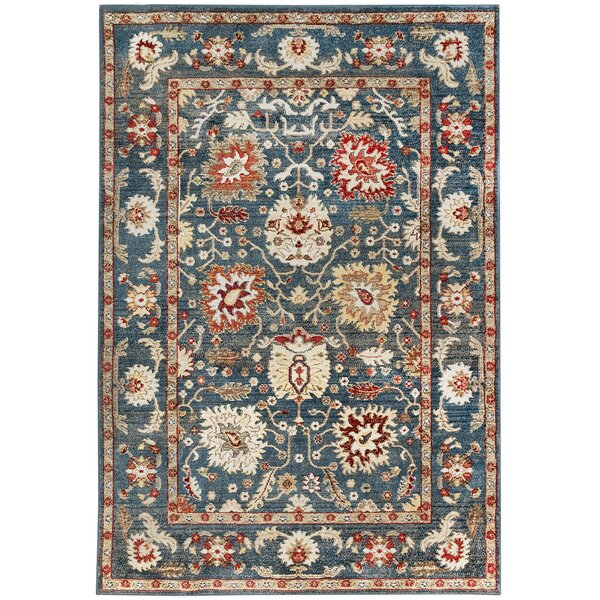 Rithland Sarouk Blue/Beige Area Rug by Charlton Home