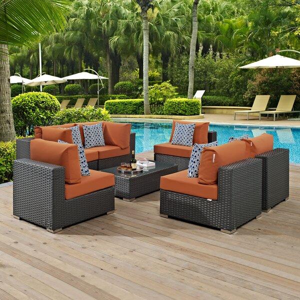 Tripp 7 Piece Rattan Sunbrella Sectional Set with Cushions Brayden Studio BRSU4081