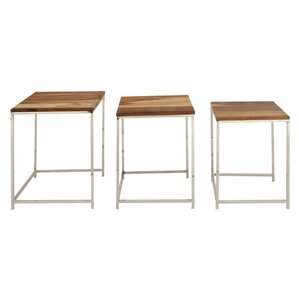 Agawam Simple Wood Iron 3 Piece Nesting Tables by George Oliver