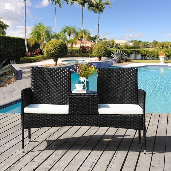 Lozano Outdoor Wicker Tete-a-Tete Bench by Bay Isle Home