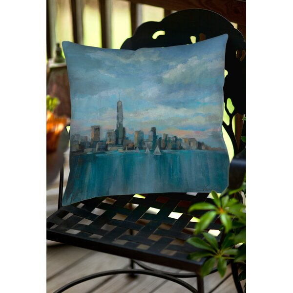 Manhattan Tower of Hope Indoor/Outdoor Throw Pillow by Manual Woodworkers & Weavers