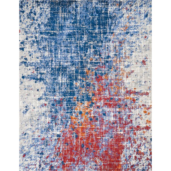 Majors Abstract Red/Blue Area Rug by Ivy Bronx
