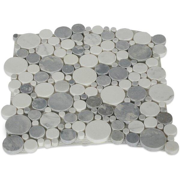 Orbit Circles Random Sized Marble Mosaic Tile in Foggy by Splashback Tile