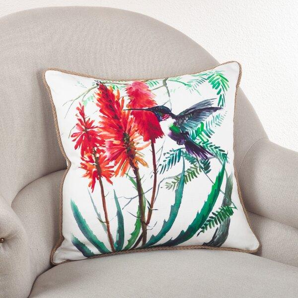 Hummingbird Down Filled Throw Pillow by Saro