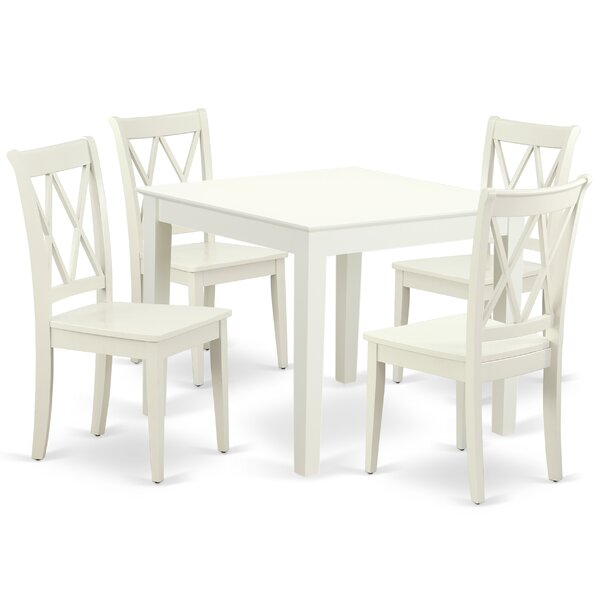 Kropp 5 Piece Solid Wood Dining Set by August Grove