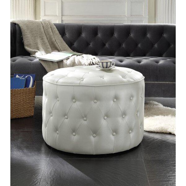Marley Leather Pouf by Iconic Home