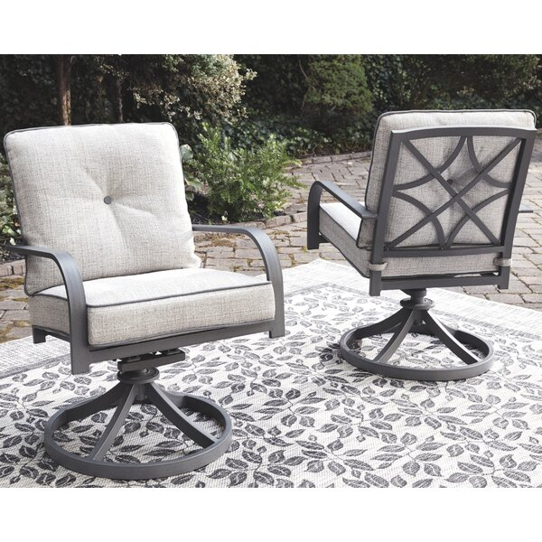 Anguiano Swivel Patio Chair with Cushions (Set of 2) by Canora Grey