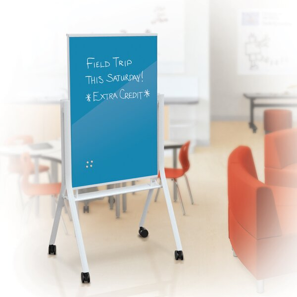 Visionary Curve Mobile Free Standing Glass Board, 67 x 36 by MooreCo