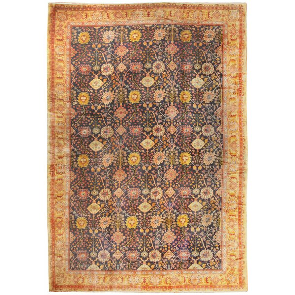 One-of-a-Kind Irish Hand-Knotted 1900s Irish Gold 14' x 20'6 Wool Area Rug