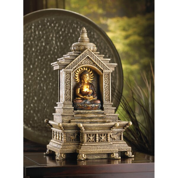Polyresin Golden Buddha Temple Resin Fountain with Light by Zingz & Thingz