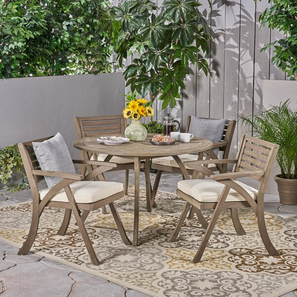 Cotswald Outdoor 5 Piece Dining Set with Cushions by Gracie Oaks