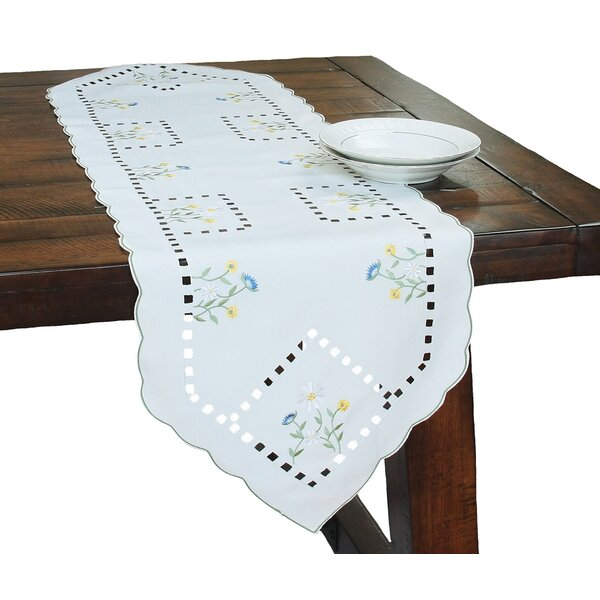 Spring Field Embroidered Cutwork Table Runner by Xia Home Fashions