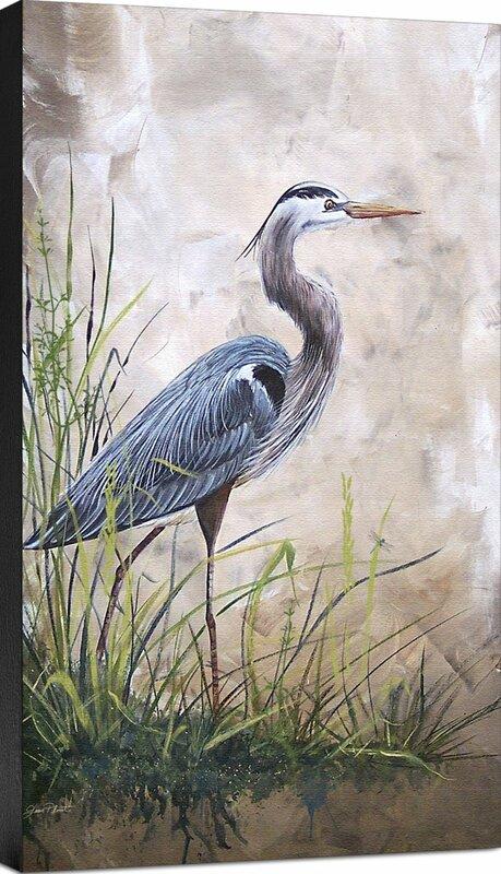 u0027coastal in the reeds blue heron a u0027 painting print on wrapped canvas   u0027 ashton wall d  cor llc  u0027coastal in the reeds blue heron a u0027 painting      rh   wayfair