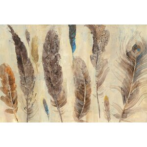 Feather Study Painting Print on Wrapped Canvas by Bungalow Rose