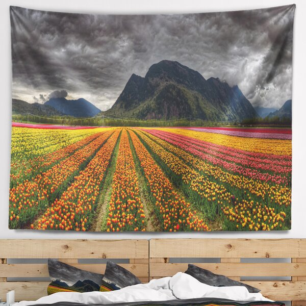 Landscape Beautiful Colored Tulips Panorama Tapestry and Wall Hanging by East Urban Home