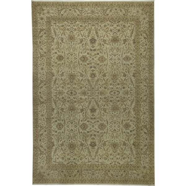 One-of-a-Kind Brookhaven Hand-Knotted Beige 12'1 x 17'9 Area Rug