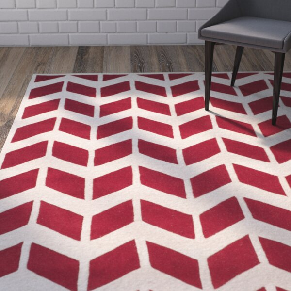Wilkin Moroccan Hand-Tufted Wool Red/Ivory Area Rug by Wrought Studio