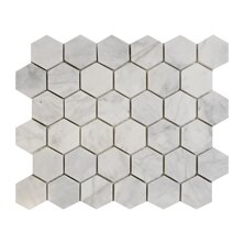 Imperial Carrara Hexagon 2 x 2 Marble Mosaic Tile in White by Seven Seas