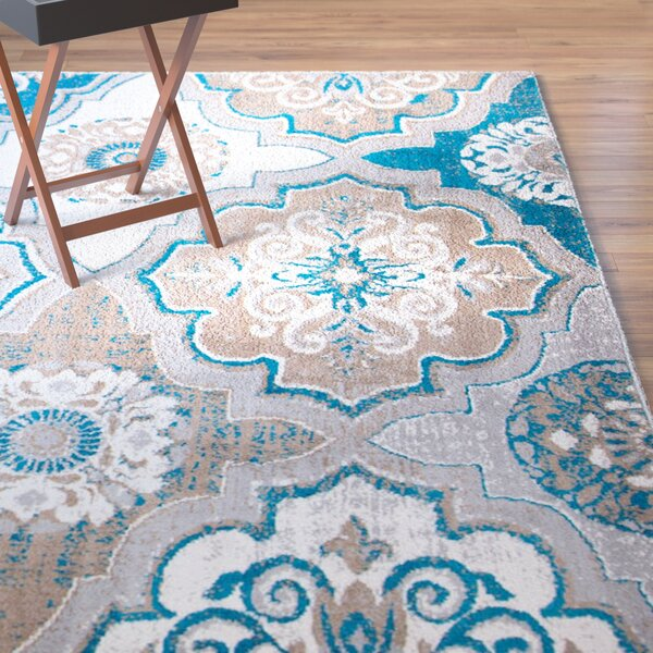 Albion Taupe/Bright Blue/Brown Area Rug by Winston Porter