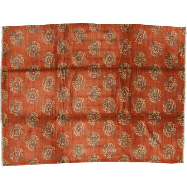 One-of-a-Kind Hand-Knotted Orange 9' x 12' Wool Area Rug