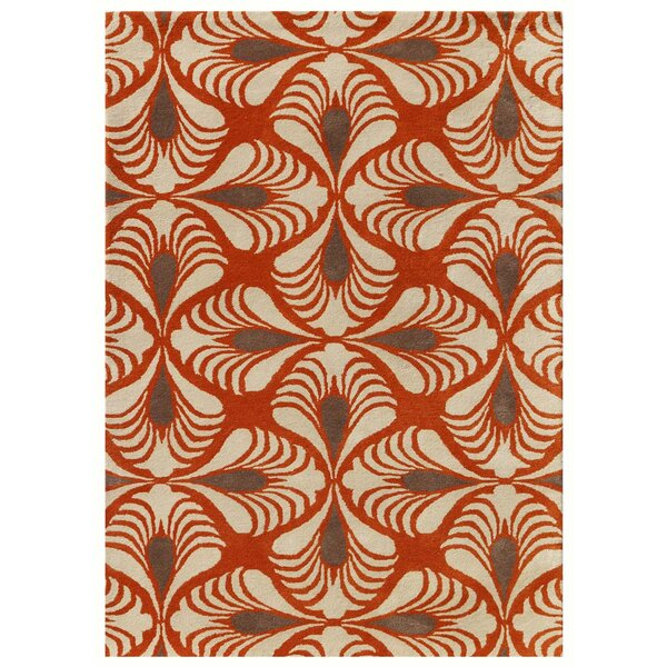 Weese Hand-Tufted Orange Area Rug by George Oliver