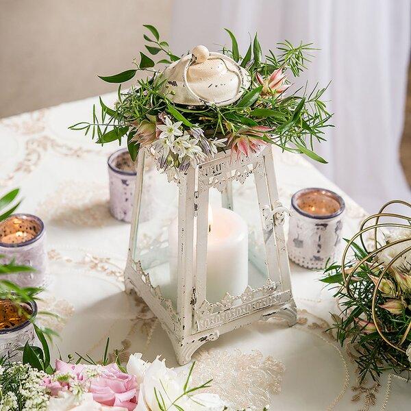 Metal and Glass Pyramid Lantern by Weddingstar