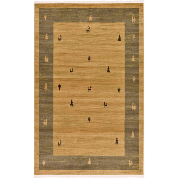 Jan Traditional Tan Area Rug by Bloomsbury Market