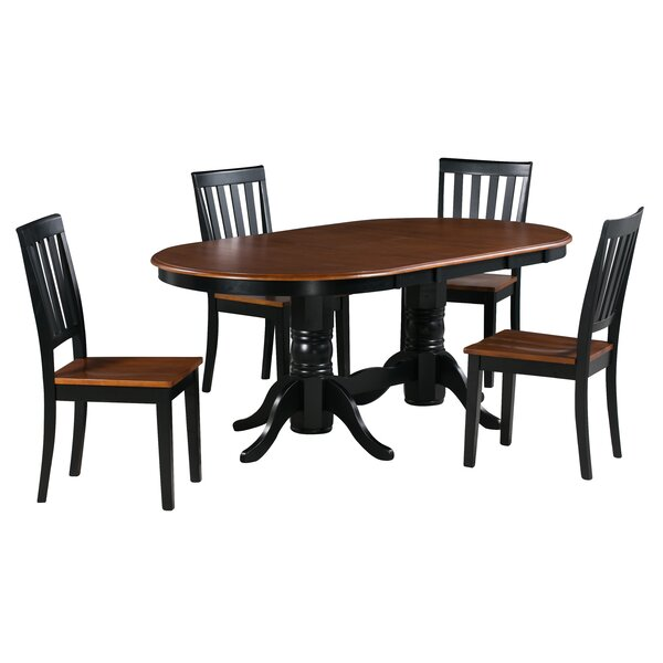 Kent 5 Piece Extendable Solid Wood Dining Set by Alcott Hill