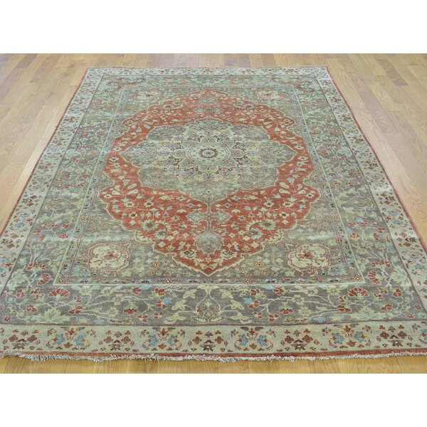 One-of-a-Kind Beason Antiqued Haji Jalili Re-creation Hand-Knotted Red Wool Area Rug by Isabelline