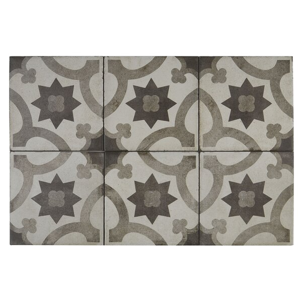 Encausto Hand Made Encaustic Look 8X8 Cool Blend Deco Tile in Sole by Itona Tile
